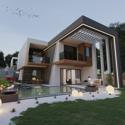 Exclusive modern with villas with pool sauna hammam and garden for sale in Kusadasi